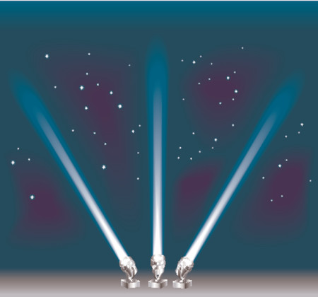 Some search/ spotlights. Shading by blends, no meshes used. Stock Vector - 654277