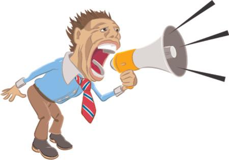 zelf doen: Een zakenman geschreeuw in een megafoon