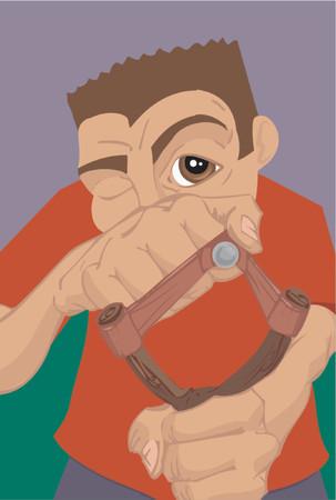 prankster: a boy with a slingshot