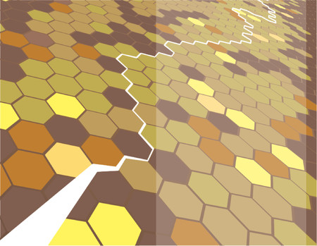 Background featuring hexagons. Vector