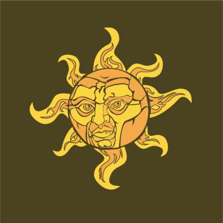 Vector illustration of a sun with a face Vector