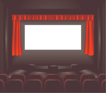 a blank cinema screen lighting up a dark movie theatre for you to place what you like on. Shading by blends not mesh Stock Vector - 654214