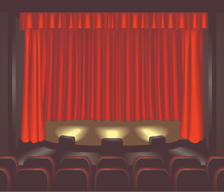 showtime:  an empty theatre stage for you to place what you like on. Shading by blends not mesh