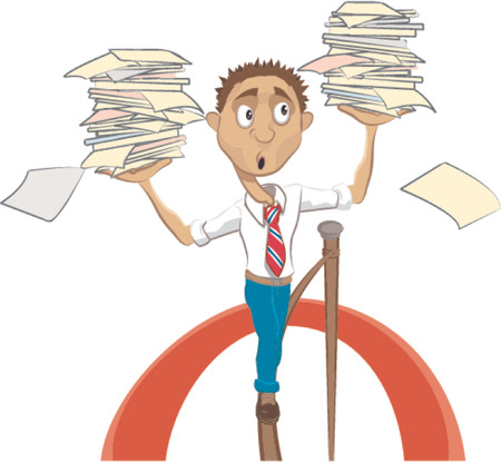 tightrope: Een man lopen op een koord probeert een evenwicht te vinden tussen bijvoorbeeld werk  facturen.