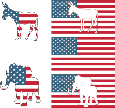 voter: The democrat and republican symbols of a donkey and elephant and American flag.