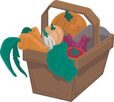 Basket of vegetable produce Vector