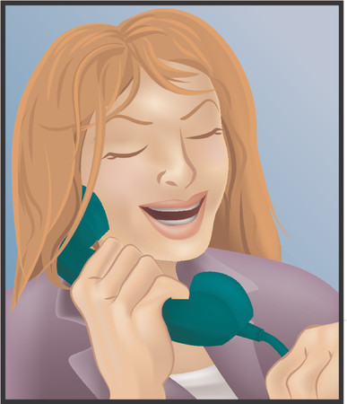 call centre girl: woman on the phone Illustration