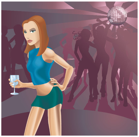 A beautiful woman in a nightclub, all blends and gradients no meshes. Stock Vector - 685954