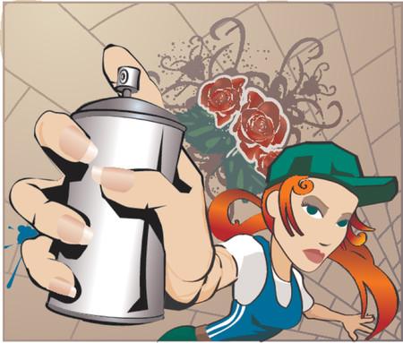 ghetto: Ragazza Del Graffiti. Una donna con la latta dello spruzzo, tutte le miscele e le pendenze nessun maglie.