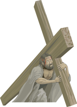 Christ bearing the cross to the crucifixion Vector