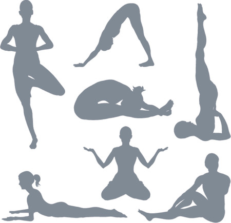 Yoga postures. A set of yoga postures silhouettes. Vector