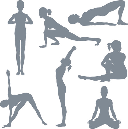 asana: Yoga postures. A set of yoga postures silhouettes. Illustration