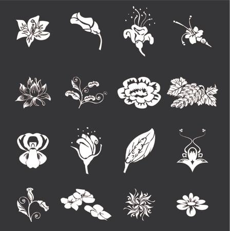 stencil: Floral Icon Set Series Design Elements. Floral icon design elements for your compositions! Illustration