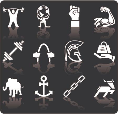spartano: Forza di impostare serie icona elementi di design. Una serie concettuale icona relativa alla forza.