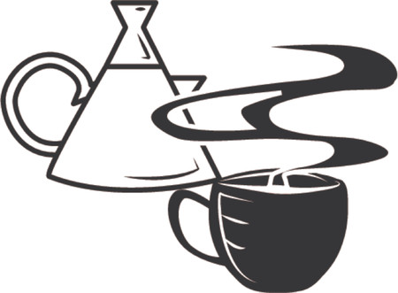 Coffee cup and pot. A coffee cup and steaming cup of coffee. Vector