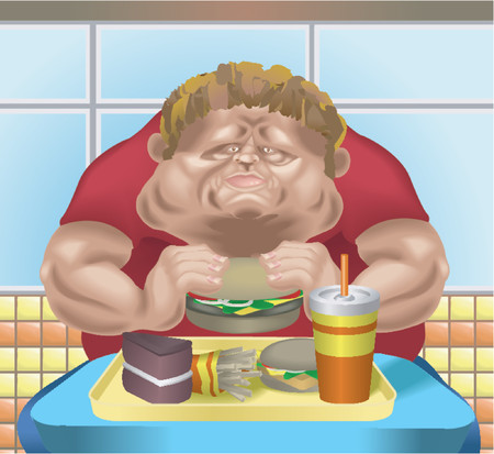 xl: An obese man in fast food restaurant consuming junk food. No meshes used.