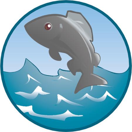 logo poisson: Jumping Fish. Une illustration d'un poisson sauter hors de l'eau.
