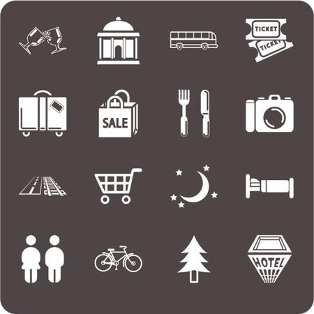 hospedaje: Sistema tur�stico del icono de las localizaciones. El icono fij� referente a la informaci�n de la ciudad o de la localizaci�n para los sitios tur�sticos de la tela o traz el etc. Incluye los iconos para los restaurantes, el alojamiento, las atracciones, las compras, los viajes y Daytrips, itinerarios sugeridos, Nightlife, transporte local