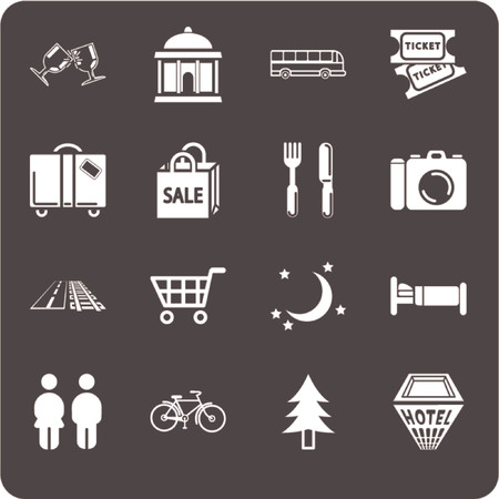 Tourist locations icon set. Icon set relating to city or location information for tourist web sites or maps etc. Includes icons for Restaurants, Lodging, Attractions, Shopping, Tours and Daytrips, Suggested Itineraries, Nightlife, Local Transportation Vector