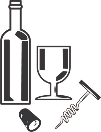 Bottle of wine and wine glass. An illustration of a bottle of wine and a wineglass. Vector
