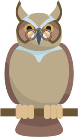 owl vector: A wise old owl. Glasses on separate layers so easily removed.