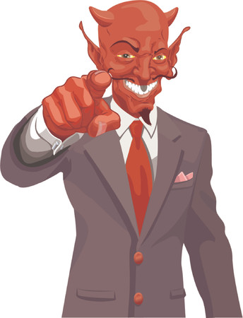 taxman: Devil pointing. The devil wants you! Is the corporate world asking you to sell out or just the tax man wanting his due? No meshes used Illustration
