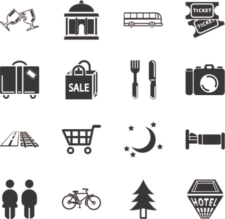 Tourist locations icon set. Icon set relating to city or location information for tourist web sites or maps etc. Vector