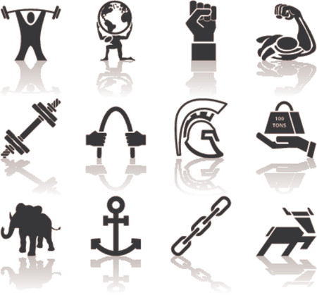 Strength Icon Set Series Design Elements A conceptual icon set relating to strength.