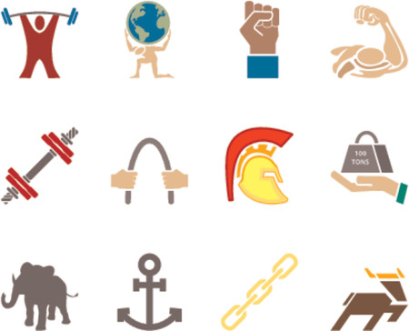 hand with dumbbell: Strength Icon Set Series Design Elements A conceptual icon set relating to strength.