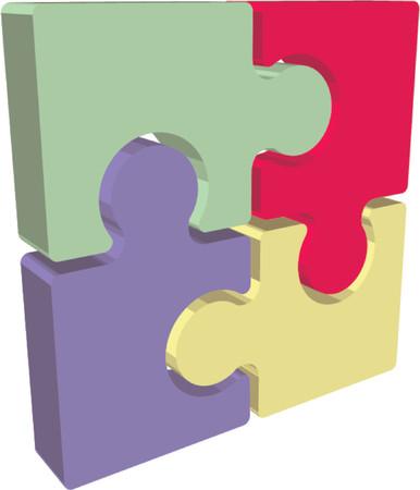 assemble: Illustration of Jigsaw puzzle pieces Illustration