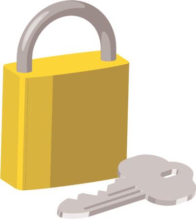 key pad: An illustration of brass pad lock and key