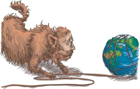 ressources naturelles: Gros chat d�truisant lenvironnement. Le morceau conceptuel, gros chat de grandes affaires d�roulant la terre aiment une boule de ficelle. Le barrer de ses ressources naturelles.