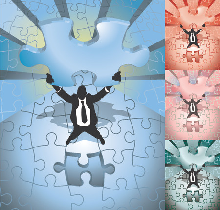 business man completing jigsaw. A business man completing a jigsaw puzzle, main image on separate layers for easy editing. Also includes several different color versions Vector
