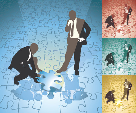 Fitting the final piece of the jigsaw. Two business people solving a jigsaw puzzle in partnership, main image on separate layers for easy editing. Also includes several different color versions Stock Vector - 866771