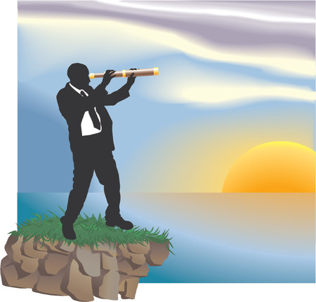 looking through: Looking to the future. Conceptual piece. A business man looking through a telescope at new horizons.