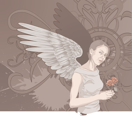 angel roses: Angel. A beautiful winged woman holding roses on a grunge background. Layers used for easy editing Illustration