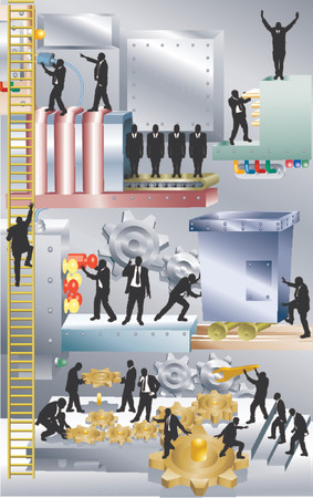 Business machine. Conceptual piece. A business corporation represented as a giant machine with people working in it. No meshes used. Main image on separate layers for easy editing.  Stock Vector - 892505
