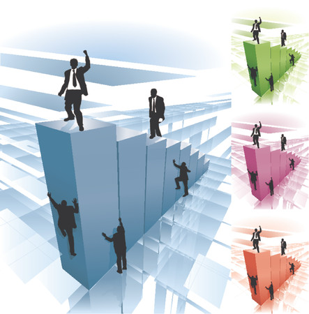 Work smarter not harder. Conceptual piece. Business people striving to reach the top, some taking the hard way climbing the sheer face, while others take the easy route. No meshes used. Main image on separate layers for easy editing. Stock Vector - 892507