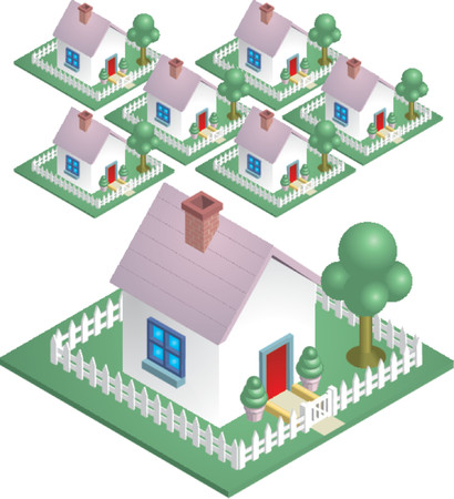 Neighbourhood. A cute house with a picket fence, easily arranged to represent a neighbourhood. Stock Vector - 892509