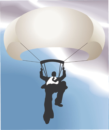 Parachuting business man. Conceptual piece. A falling business man saved by a parachute. Copyspace on chute to write whatever you like on it (perhaps a company name!). No meshes used. Main image on separate layers for easy editing.  Vector