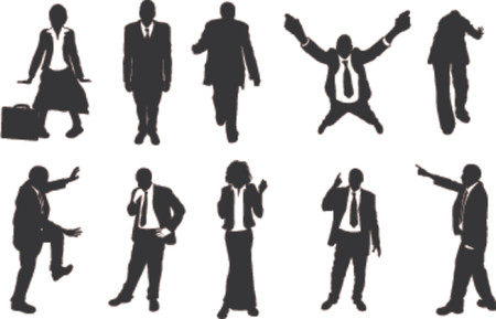 pointing finger pointing: business people unusual silhouettes. A series of business people mostly in more unusual poses, climbing, balancing etc. Great for use in conceptual pieces. Illustration