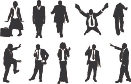 pushing: zakenmensen ongebruikelijke silhouetten. Een reeks mensen uit het bedrijfsleven vooral in meer ongebruikelijke poses, klimmen, balanceren, enz. Zeer geschikt voor gebruik in de conceptuele stukken. Stock Illustratie