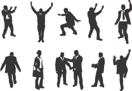 walking on hands: business people unusual silhouettes. A series of business people mostly in more unusual poses, climbing, balancing etc. Great for use in conceptual pieces. Illustration