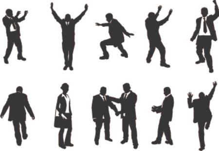 mujer con corbata: siluetas inusuales de la gente del negocio. Una serie de negocio puebla sobre todo en actitudes m�s inusuales, el subir, balanceando el etc. Grande para el uso en pedazos conceptuales.