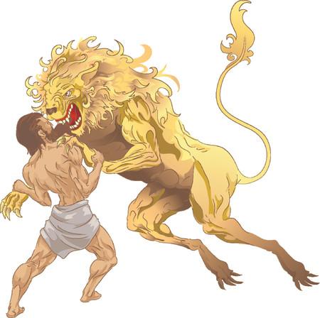 H�rcules y la Nemean Lion. H�rcules (Heracles, Her�cles) de la mitolog�a cl�sica Nemean la lucha contra el le�n, el primero de sus trabajos. No mallas utilizadas.  Foto de archivo - 902889