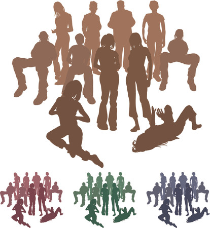 Group of friends. A group of friends each is a complete silhouette on separate layer in the vector files (with the exception of those hugging who are an individual set). Vector file includes several different colour versions Vector
