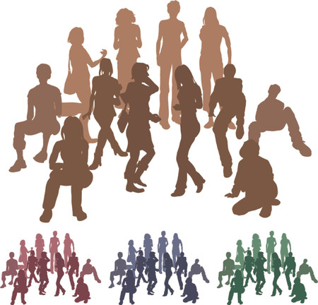 gang: Group of friends. A group of friends each is a complete silhouette on separate layer in the vector files (with the exception of those hugging who are an individual set). Vector file includes several different colour versions