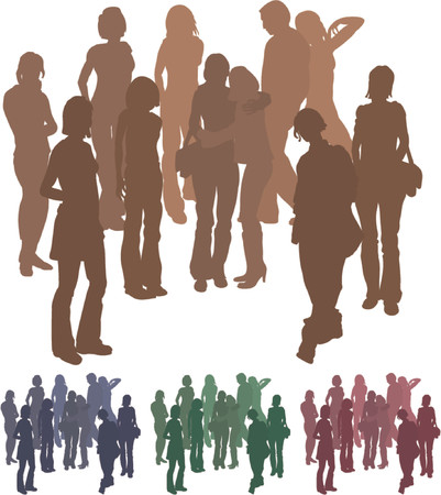 peer: Group of friends. A group of friends each is a complete silhouette on separate layer in the vector files (with the exception of those hugging who are an individual set). Vector file includes several different colour versions