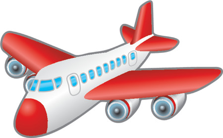airplane cartoon: Aeroplane. Childrens illustration of a jumbo jet aeroplane. No meshes used. Illustration