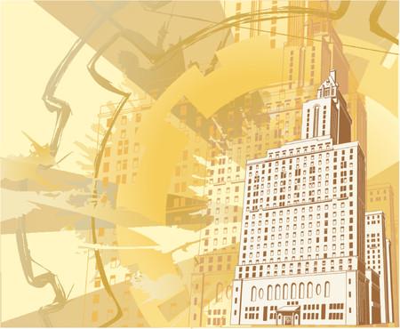 flier: Grunge Urban Building Background. An illustration of a funky grungy urban building background.